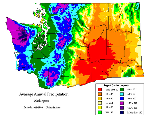 Average annual precipitation map of Washington.